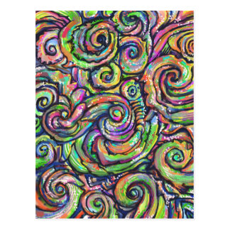 Colorful Abstract Swirls Postcard