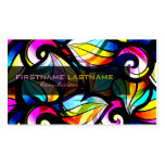 Colorful Abstract Swirls-Stained Glass Look Business Cards