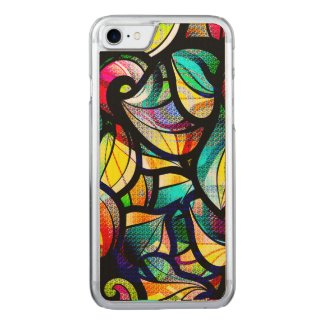 Colorful Abstract Swirls Textured Finish Print