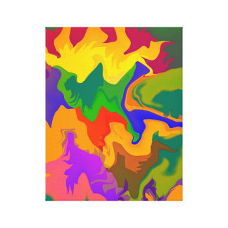 Colorful Abstract Swirly Groovy Camouflage Canvas Print
