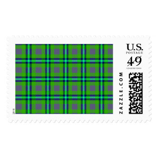Colorful abstract tartan pattern postage