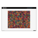 "Colorful abstract tile pattern design decals for 12"" laptops"