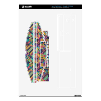 Colorful abstract tile pattern design decals for PS3 console