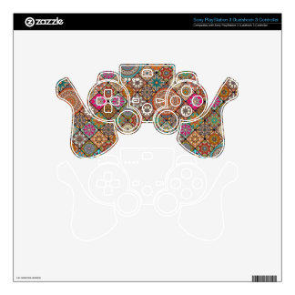 Colorful abstract tile pattern design PS3 controller skin