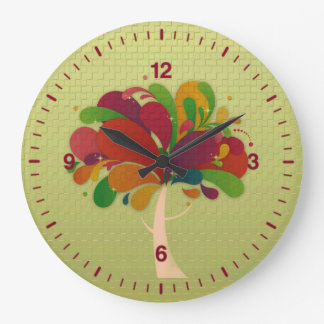 Colorful Abstract Tree Round Wall Clock