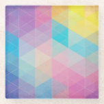 """Colorful abstract triangles background glass coaster<br><div class=""""desc"""">Colorful abstract triangles abstract vector background. This is file of EPS10 format. &#169; and &#174; Bigstock&#174; - All Rights Reserved.</div>"""