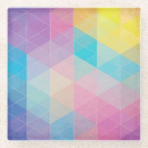 Colorful abstract triangles background glass coaster