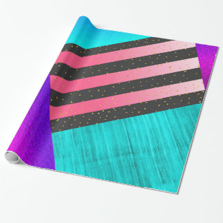 Colorful abstract triangles dots stripes pattern wrapping paper