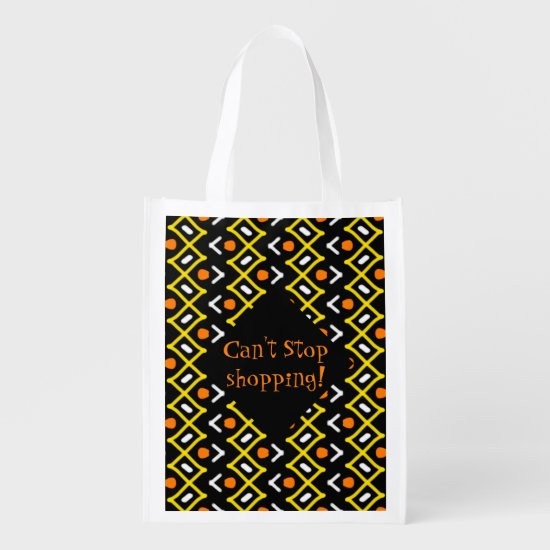 Colorful Abstract Tribal Pattern Typography Grocery Bag