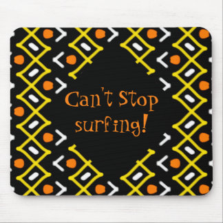 Colorful Abstract Tribal Pattern Typography Mouse Pad