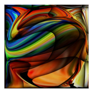 COLORFUL ABSTRACT VIBRANT HOME OFFICE DECOR by Teo Print