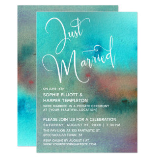 Colorful Abstract Watercolor Just Married Script Invitation