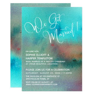 Colorful Abstract Watercolor We Got Married Script Invitation