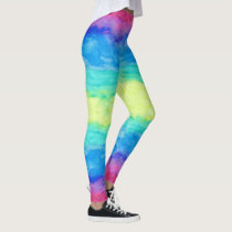 Colorful Abstract Watercolors Brush Strokes Leggings