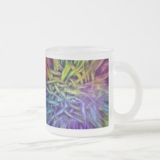 Colorful Abstract Weave Design Frosted Glass Coffee Mug