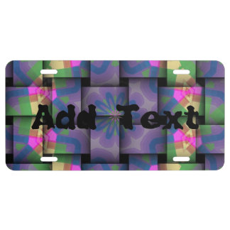 Colorful abstract weave pattern license plate