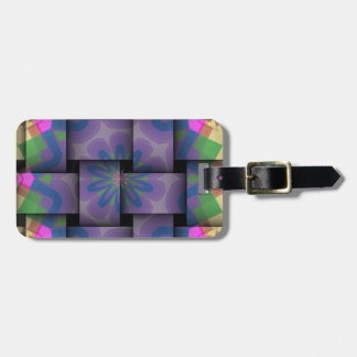 Colorful abstract weave pattern luggage tag