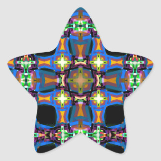 Colorful Abstract Weave Pattern Star Sticker