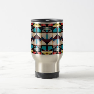 Colorful Abstract Weave Pattern Travel Mug