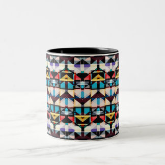 Colorful Abstract Weave Pattern Two-Tone Coffee Mug