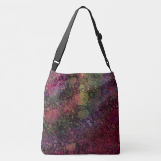 Colorful Abstract with Black & Grungy Circles Crossbody Bag