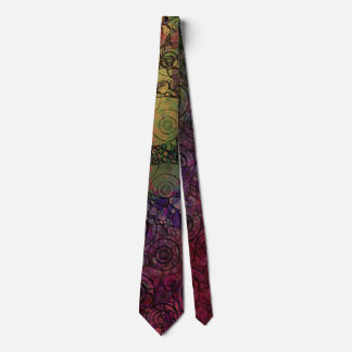 Colorful Abstract with Black & Grungy Circles Neck Tie