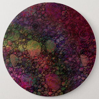 Colorful Abstract with Black & Grungy Circles Pinback Button