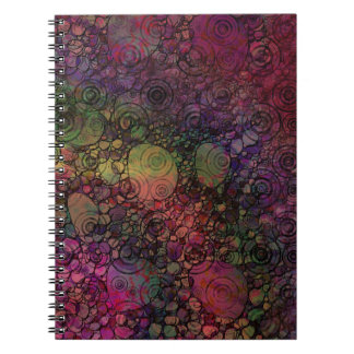 Colorful Abstract with Black & Grungy Circles Spiral Notebook