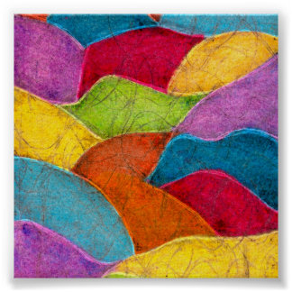 Colorful Abstract with Distressed Aged  Look Poster