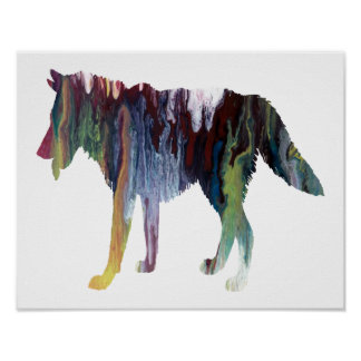 Colorful abstract Wolf silhouette Poster