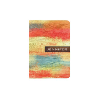 Colorful Abstract Wood Grain Modern Leather Passport Holder