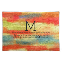 Colorful Abstract Wood Grain Texture Monogram Cloth Placemat
