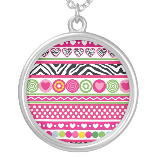 Colorful abstract zebra hearts and dots pattern necklace