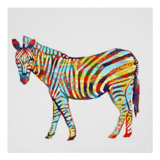 Colorful Abstract Zebra Poster