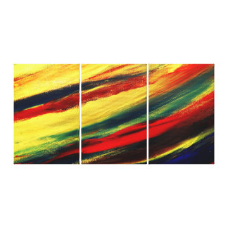 Colorful Acrylic Abstract Triptych Wrapped Canvas