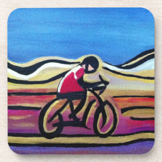 Colorful acrylic cyclist beverage coaster
