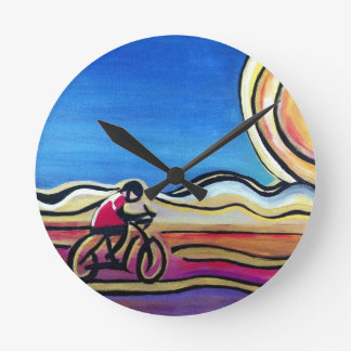 Colorful acrylic cyclist round wallclock