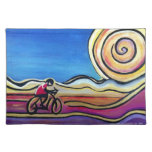 Colorful acrylic cyclist place mat
