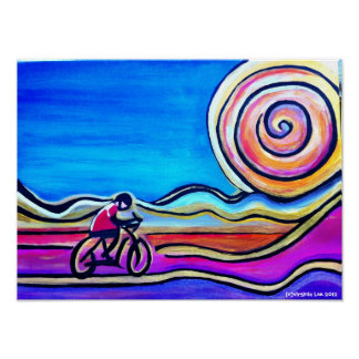 Colorful acrylic cyclist poster