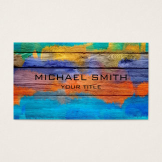 Colorful Acrylic Painting on Wood #2 Business Card