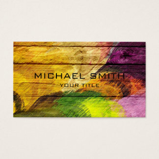Colorful Acrylic Painting on Wood #4 Business Card