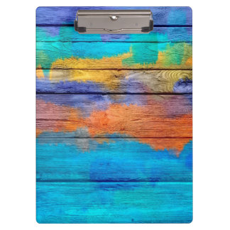 Colorful Acrylic Painting on Wood #4 Clipboard