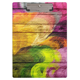 Colorful Acrylic Painting on Wood #7 Clipboard