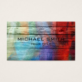 Colorful Acrylic Painting on Wood Business Card