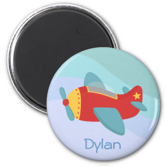 Colorful & Adorable Cartoon Aeroplane 2 Inch Round Magnet