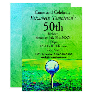 Colorful Adult Ladies Golfing Birthday Invitations
