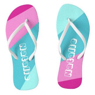 Colorful Adult, Slim Straps, Womens 5/6 - Mens 4/5 Flip Flops