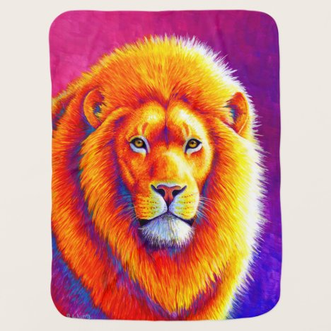 Colorful African Lion Baby Blanket