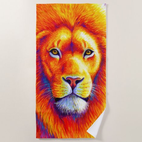 Colorful African Lion Beach Towel