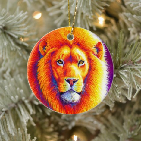 Colorful African Lion Ceramic Ornament
